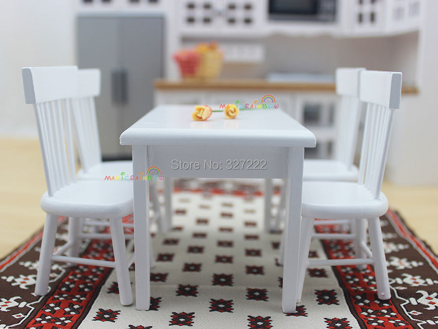 1 12 Scale Dollhouse Miniature Furniture Kitchen Wooden Toys Dining Room Furniture Set Chair Table Wood 5pcs White