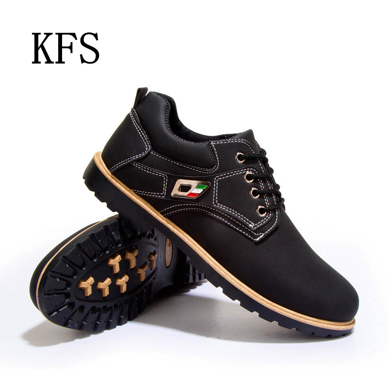 2016 New Men Fashion Luxury Brand PU Genuine Leather Casual Shoes Brogues Oxford Shoes Men Flats Lace-Up Business Boots Leather