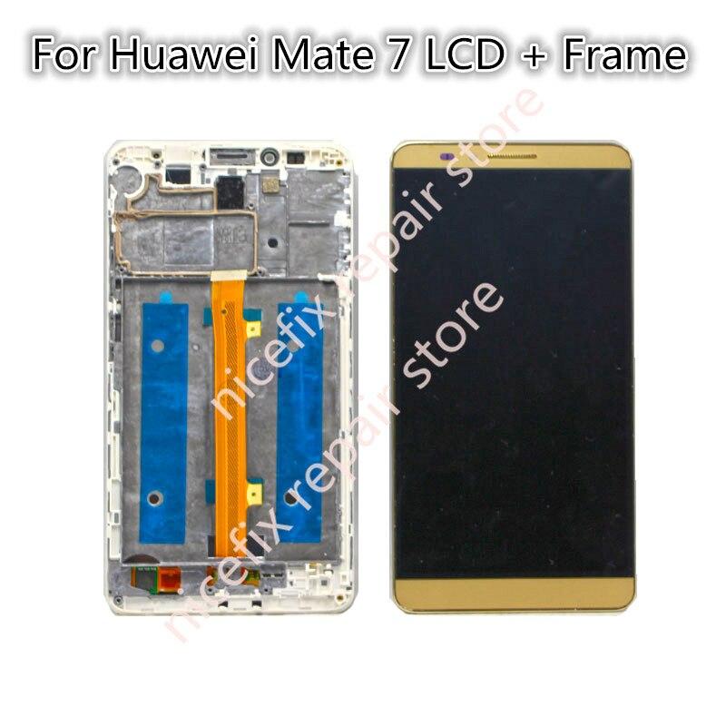 imágenes para 100% probado Para Huawei Mate 7 pantalla LCD de pantalla Táctil Reemplazo Asamblea de pantalla Con Marco para HUAWEI MATE 7 Celular teléfono