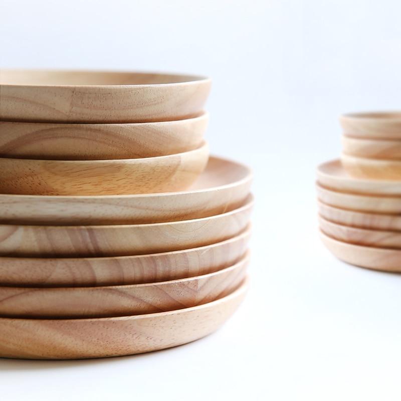 Premium Round Wood Plates Japanese Cake Dessert Dishes Wood Serving Tray Plate Wooden Tableware Gift Kitchen Utensils 2 Sizes (1)