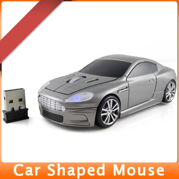 MENGS 2.4G wireless optical mouse for Aston Martin DBS Racing Car shaped 1600 DPI Gray