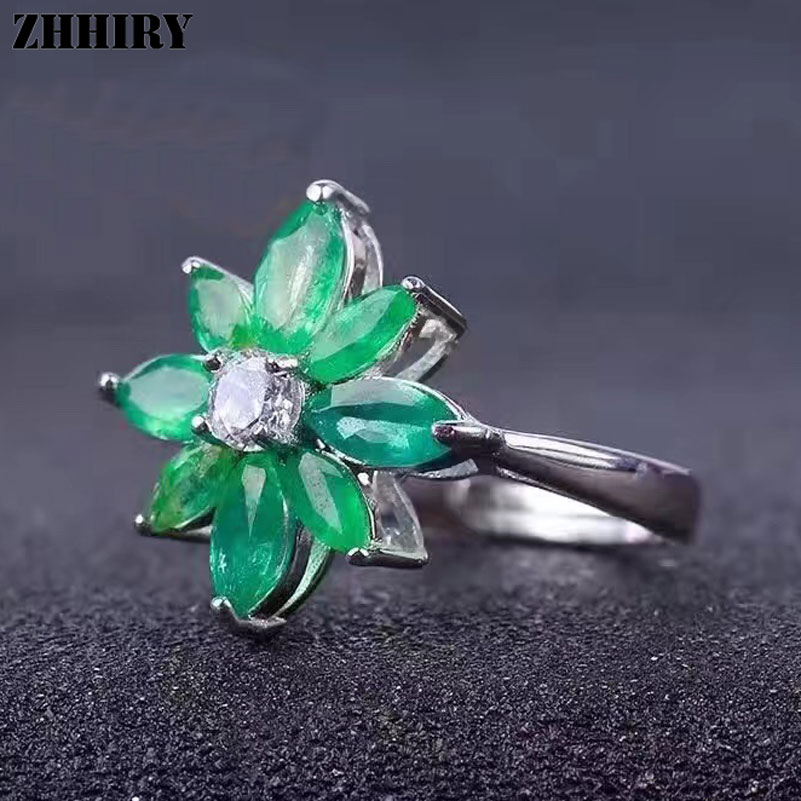 ZHHIRY Real Emerald Ring 925 Sterling Silver Natural Gem Stone Flower Rings Wedding For Women Genuine Fine Jewelry цена