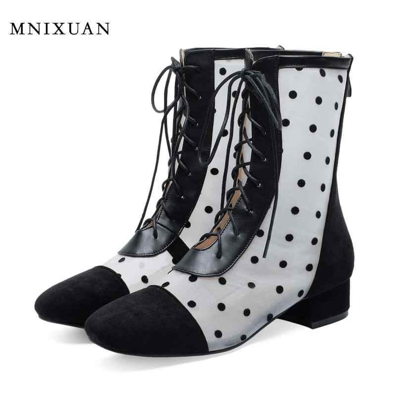 MNIXUAN 2019 ใหม่รองเท้าฤดูใบไม้ผลิฤดูใบไม้ร่วงสแควร์รองเท้าส้นสูงลูกวัวกลางรองเท้าแฟชั่นสำหรับสตรีรอบ toe laces up ขนาดใหญ่ขนาด 42 43
