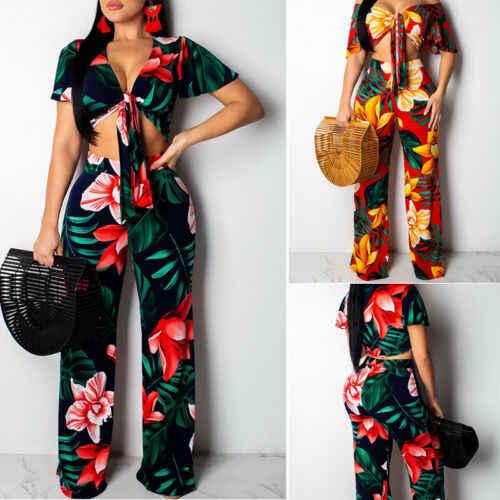 2 шт. женский комбинезон с v-образным вырезом с цветочным принтом укороченный топ + широкие брюки новые женские цветочные повязки летний женский комплект