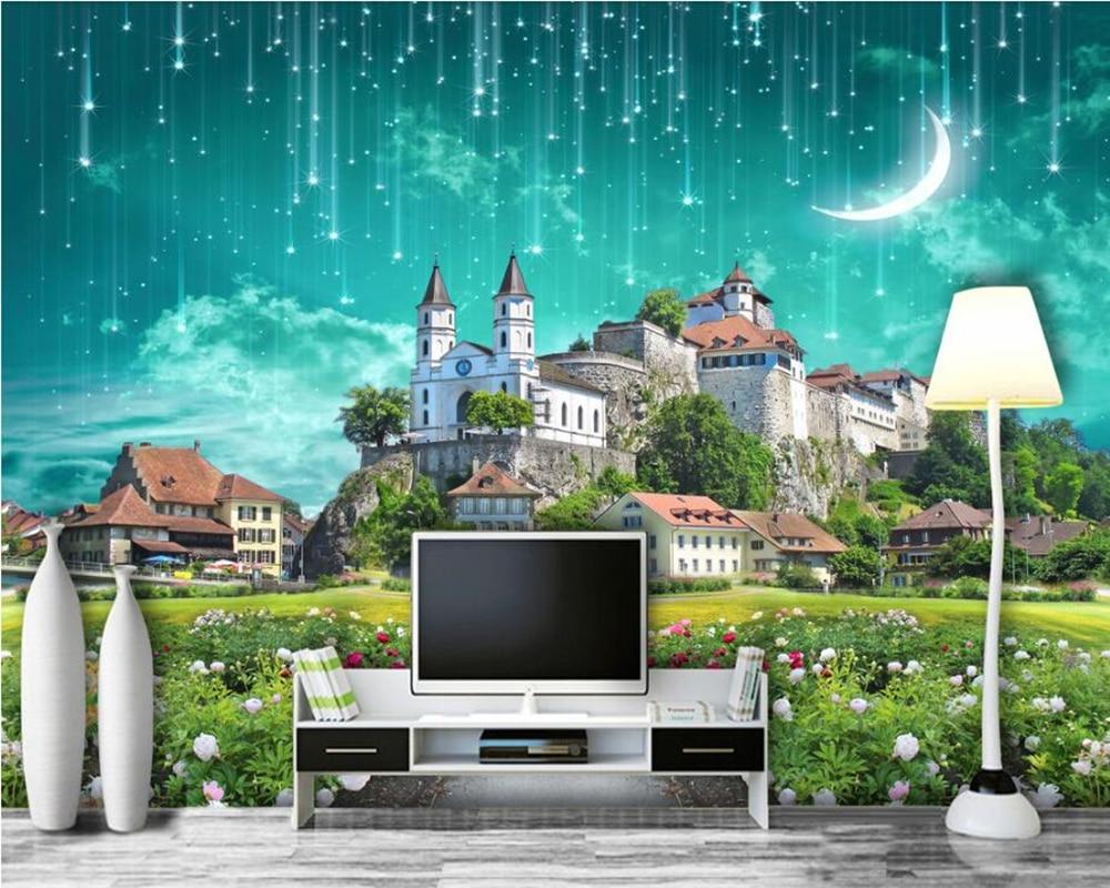 Papel de parede Dream Castle Meteor Shower 3D wallpaper,living room sofa TV wall kidsroom bar wall papers home decor murals