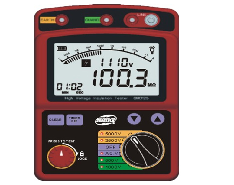 High Voltage 5KV Insulation Resistance Tester Meter Megger 1T Ohm DAR PI GM3125 wholesale high voltage megger meter tester se ar907a