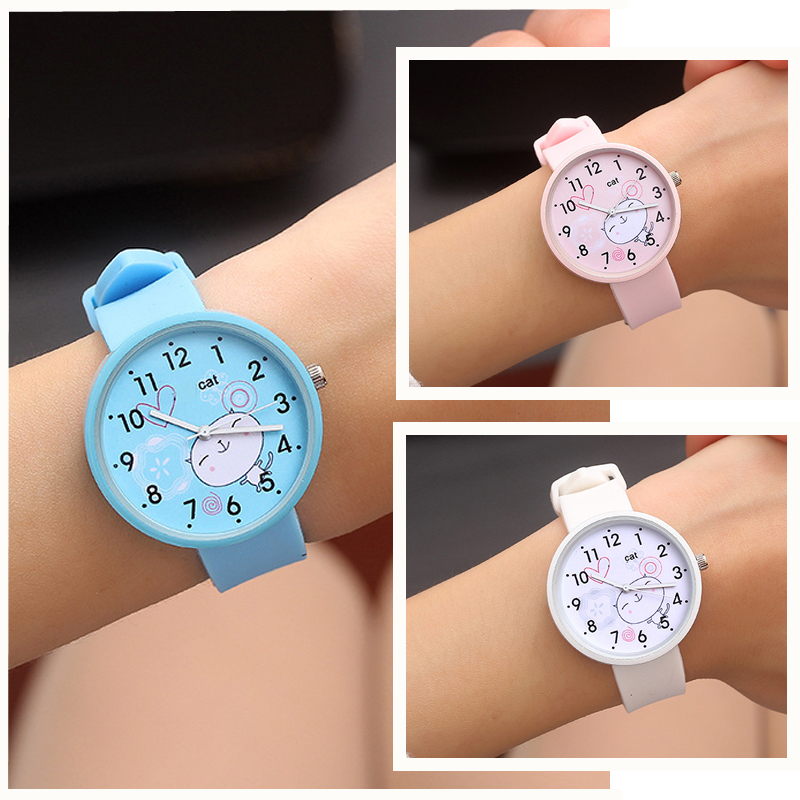 Silicone Candy Color Baby Watch Girls Student Clock Fashion Children Dress Quartz Wristwatches Cute Cat Pattern Boy Kids Watches
