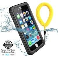 Capa de mergulho ip68  capa à prova d'água para iphone 11 pro max xr xs max 5S se 6s 7 8 plus  áspero capa transparente com protetor de tela