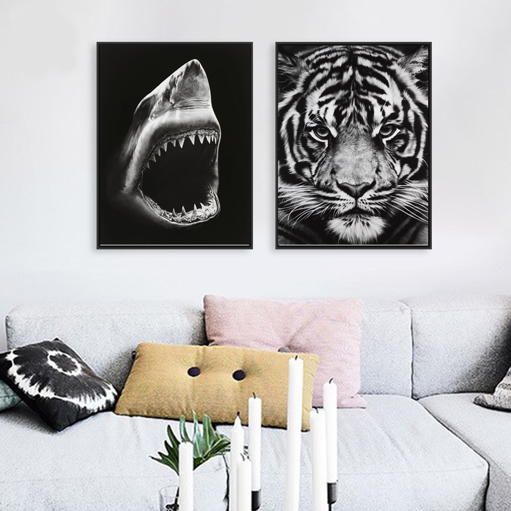 Modern Wall Picture Shark and Tiger Animals Canvas Art Print Poster and Painting Cuadros Decoration 2 Piece Unframed