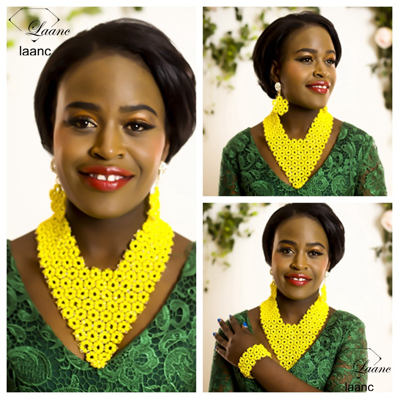 Laanc Brand Nigerian Wedding African Beads Jewelry Set Crystal Yellow Indian Bridal Bridesmaids Necklaces AL291