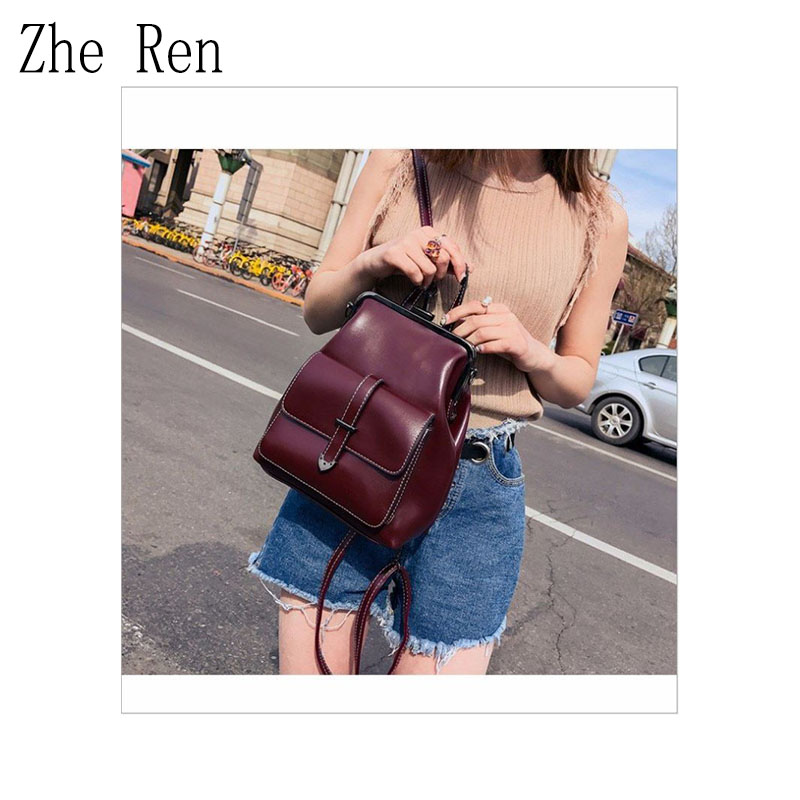 New Double Shoulder Bag Women's Bag Korean Version Of The Trend Of Simple Leisure With Pu Soft Leather Backpack For Students