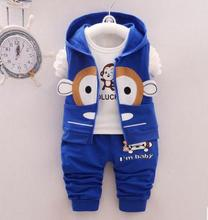 Children Clothing Autumn 2019 Spring Baby Boys Clothes Kids Hoodies Long Sleeve Cartoon Monkey Outfit QHQ063