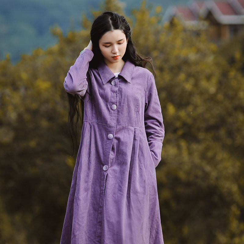 LYNETTE'S CHINOISERIE Spring Autumn Original Design Women Loose Vintage Purple Corduroy   Trench   Coats
