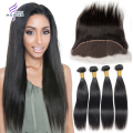 Hot Ear To Ear Lace Frontal Closure With Bundles Straight Cheap 6A 4 Bundles Vip Beauty Human Peruvian Virgin Hair With Closure