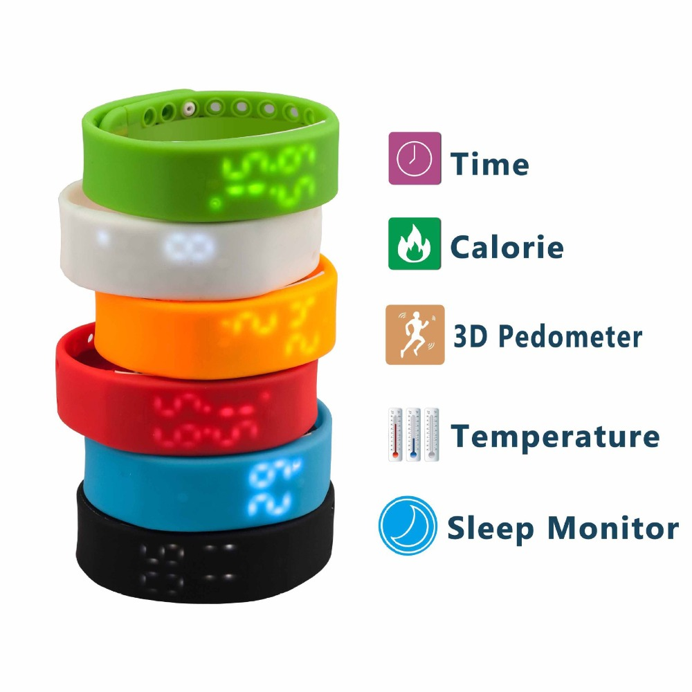 W2 LED Digital Sports USB Wristband Waterproof Silicone Band Fitness Tracker Multicolor 3D Pedometer