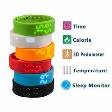 W2 СВЕТОДИОДНЫЙ Цифровой Спорт USB Водонепроницаемый Силиконовый Браслет Группа Фитнес-Трекер Многоцветный 3D Шагомер