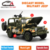 Diecast Car Model Military Jeep Kids Toys With Gift Box Openable Doors Music Light Pull Back