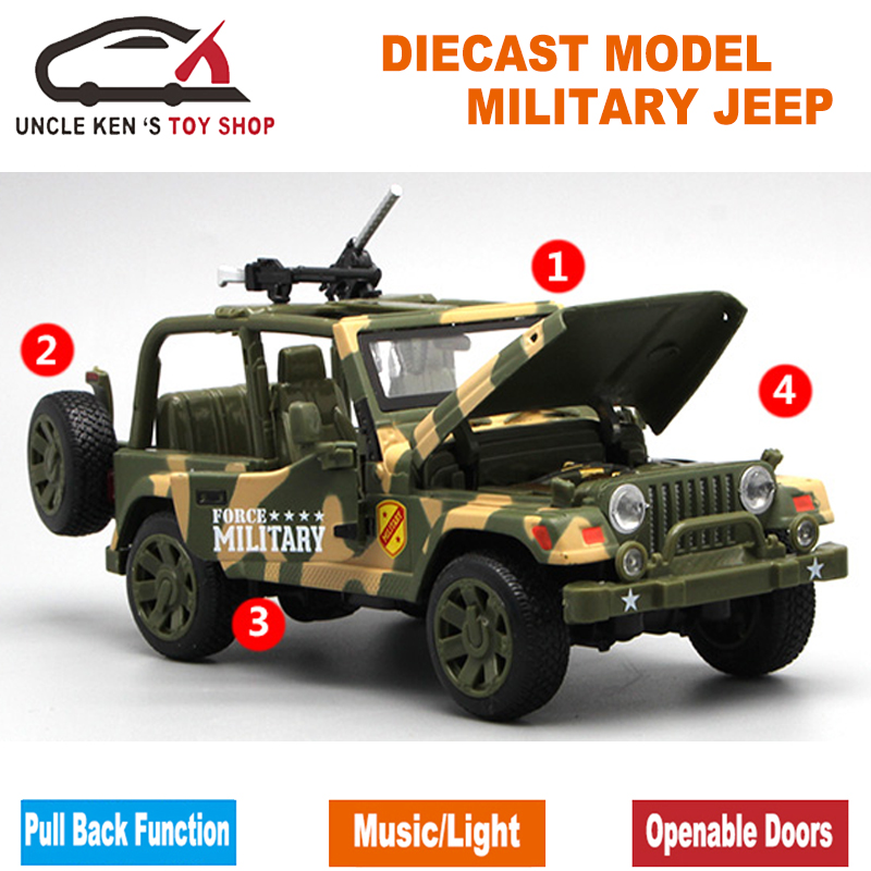 16.5Cm Diecast Model Army Jeep Replica As Kids Metal Toys With Gift Box(China)