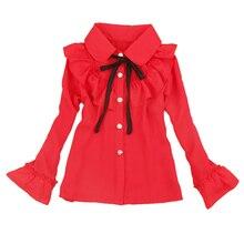 Girls Chiffon Blouses for Kids Solid Shirts Autumn Child Long Sleeve Blouses Teenage Tops 4 6 8 9 12 14 Years Girls Shool Shirts
