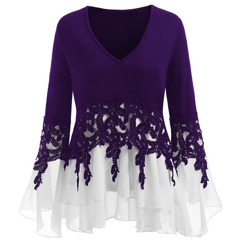 purple Primavera Blue Talla white Tops Sleeve Gamiss Crochet Otoño Encaje 2018 Black And Ropa Mujer Plus Blusa wine Túnica Chifón Flare Size 5xl Red gray Sexy Grande Bell 4RBRwTZq