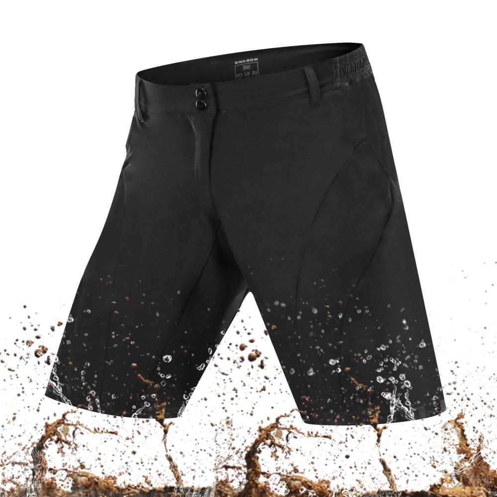 WOSAWE אופני הרי MTB כביש שחור מכנסיים קצרים Downhill אופנועים של גברים לנשימה ספורט ריצת מכנסיים Loose Fit רכיבה מכנסיים קצרים