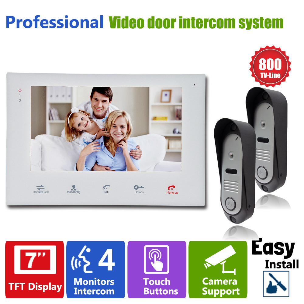 Homefong 7 Video Intercom Doorphone System With 2 Door Bell Camera HD 800TVL and 1 Indoor Phone Recording Unit homefong security 4 tft lcd screen night vision video door phone intercom doorbell kit hd 800tvl 2 indoor unit 2 outdoor unit