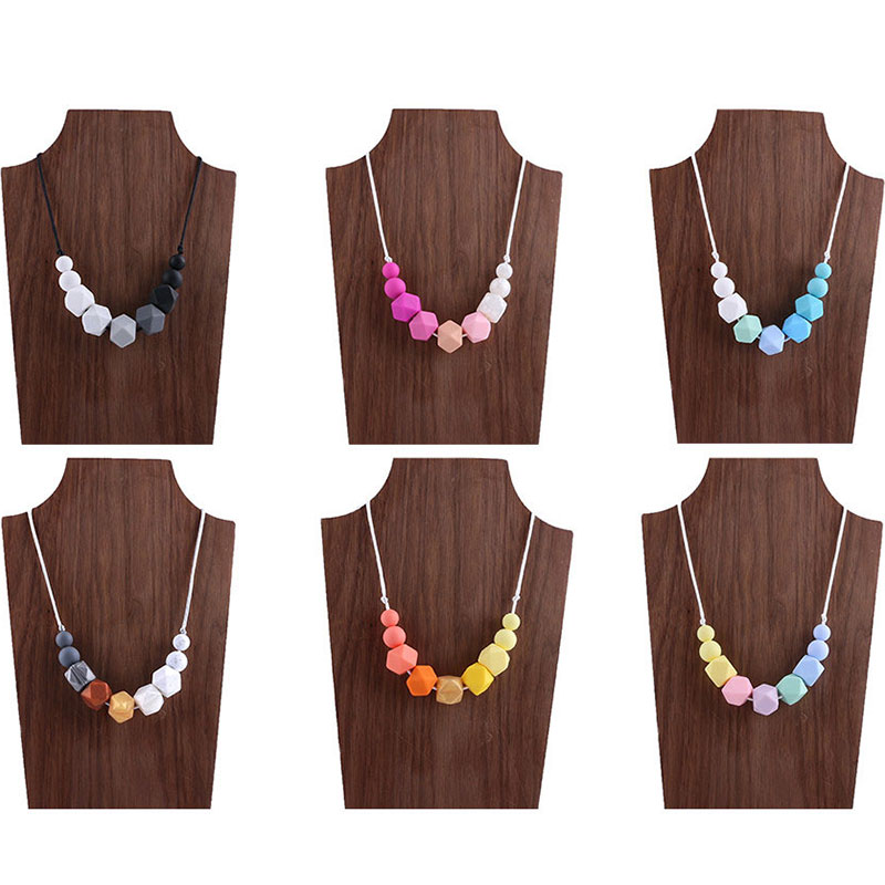 BPA Free Silicone Beads 1pc Silicone Teething Necklace Baby Bite DIY Accessories Silicone Baby Teether Chain Baby Teething Toys