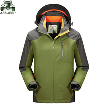 AFS JEEP Brand Men Camping Hiking Outdoor Fishing Climbing Clothing Hunting Clothes SoftShell Jacket Waterproof Windproof Hoodie