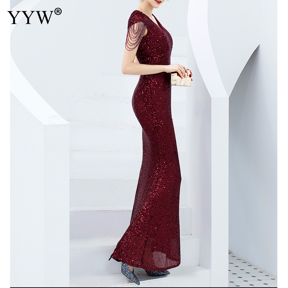 Luxury Sequined Women Evening Dress V Neck Short Sleeve Mermaid Party Gowns