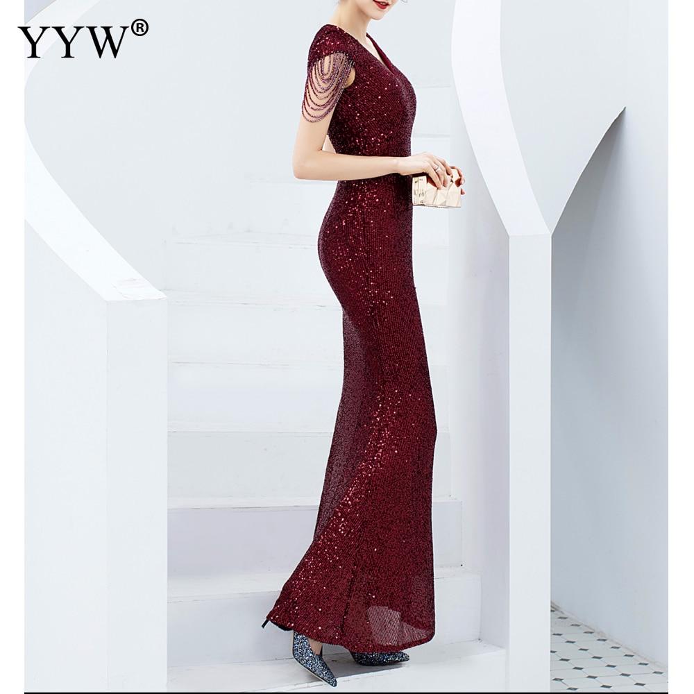 Luxe paillettes femmes Robe de soirée col en V à manches courtes sirène robes de soirée à manches courtes Sexy Robe Femme robes formelles élégantes - 2