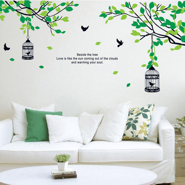 large elegant flower wall stickers green color wall stickers