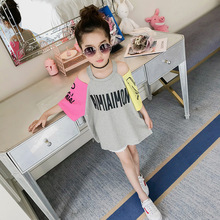 JENYA New Fashion Baby Girls Strapless Casual Letter Pattern Dress Brief Children Clothes O-neck