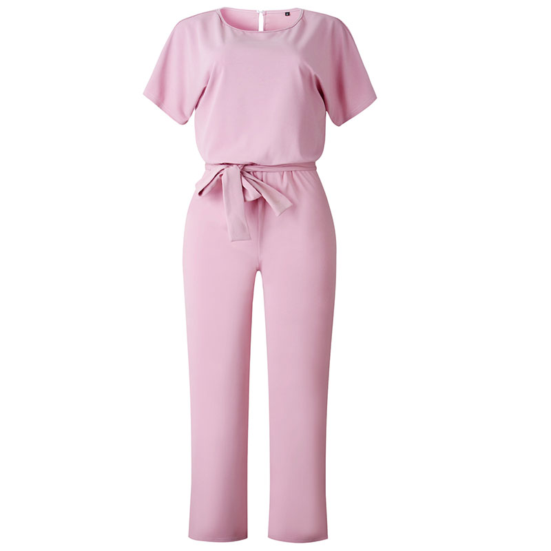 Work Office Women Jumpsuit 2019 Spring Fashion Sexy Overall Loose Solid Long Playsuit Lace Up Sashes Jumpsuit Rompers New M0403(China)