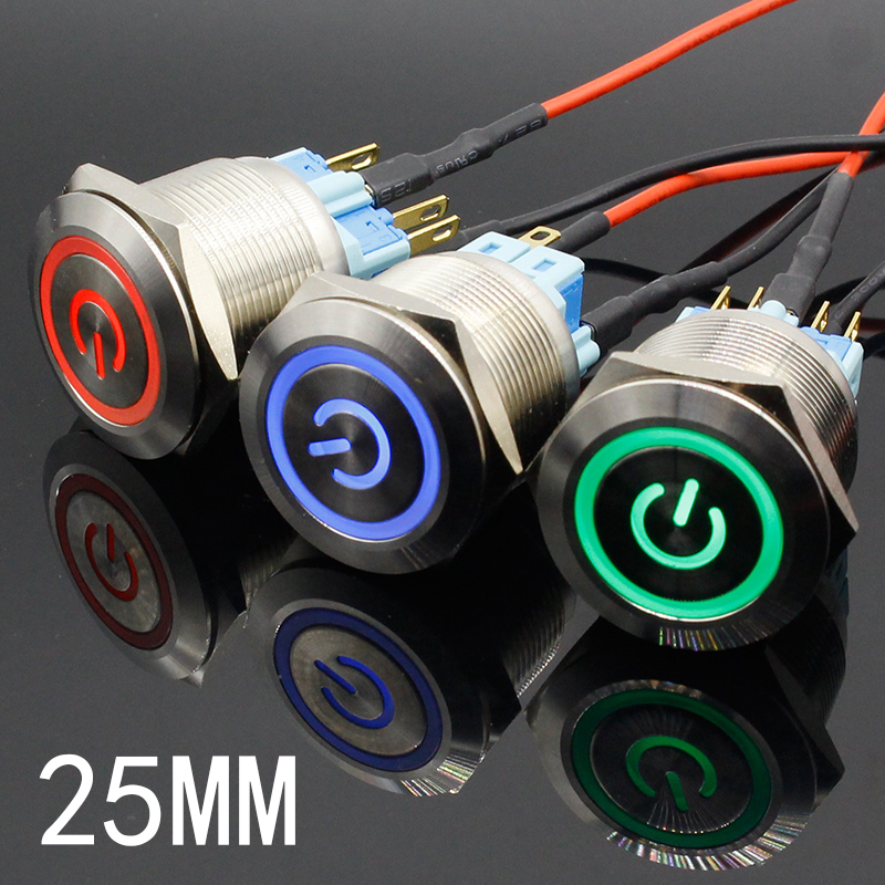 цена 1pc 6Pin 25mm Metal Stainless Steel Momentary/Latching LED Push Button Switch Car Auto Engine Start PC Power Symbol