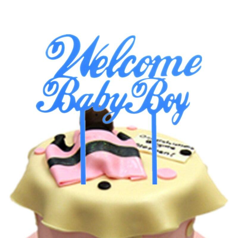1pc Welcome Baby Boy Birthday Cake Flags Blue Acrylic Happy Birthday Cake Toppers Newborn Baby