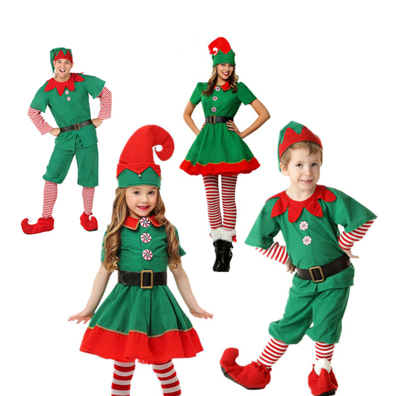Kids Adults Christmas Elf Parent-Child Costume Women Men Boy Girl Family Green Elf Cosplay Costume Xmas Carnival Party Clothes