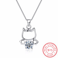 Cute Cat Necklace Pendant For Women Gift 925 Sterling Silver Wholesale Trendy Rhinestone Animal Pet Charm