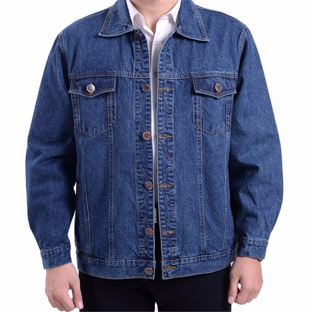 Denim Jacket bomber coat men blue color Turn-down Collar causal jackets size S-4XL