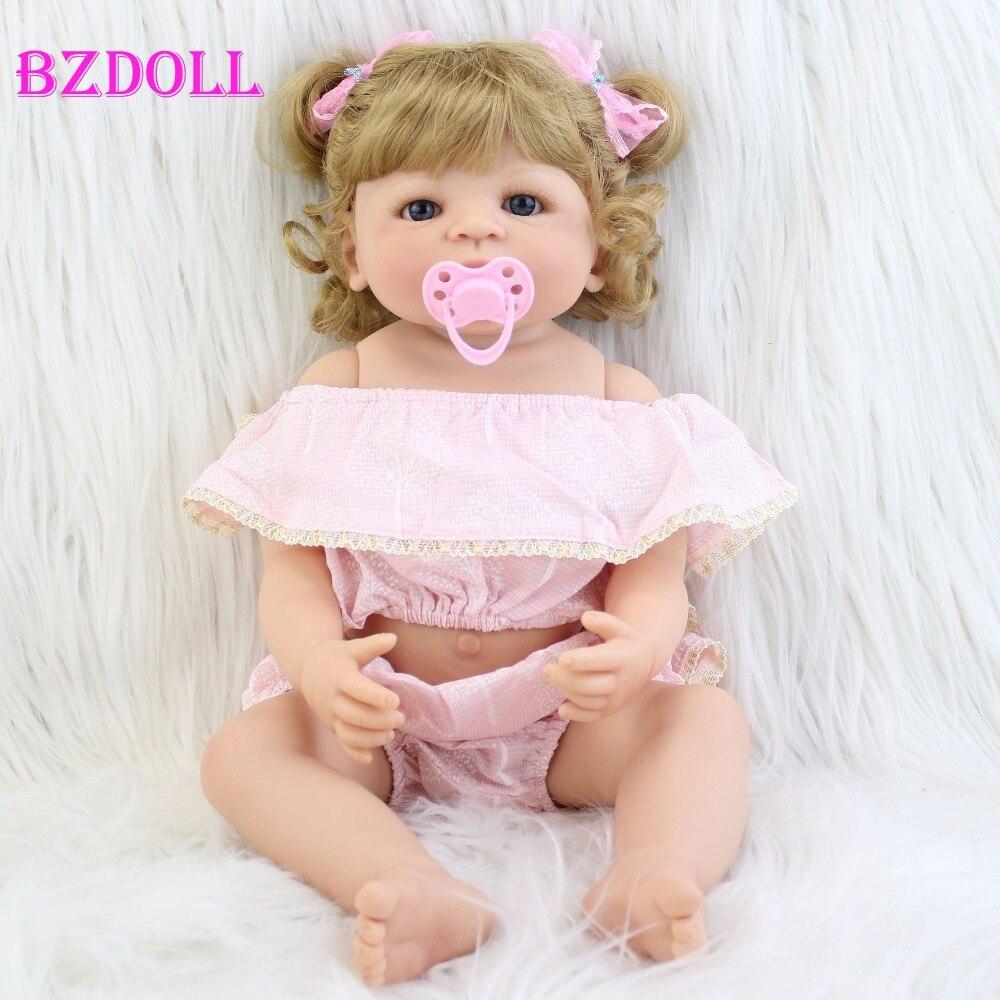 55 ซม. ซิลิโคน Reborn ตุ๊กตาเด็กของเล่นสำหรับหญิง Bonecas สีบลอนด์เจ้าหญิงแรกเกิด Bebe Alive ทารกของขวัญอาบน้ำของเล่น-ใน ตุ๊กตา จาก ของเล่นและงานอดิเรก บน   1