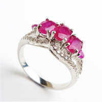Women Ladies Wedding Engagement Silver 925 Sterling Rings Zircon Jewelry Size 7 Genuine Rose Natural Stone Rings