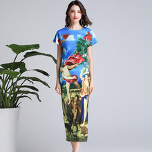 2019 summer runways diamonds pencil dress Fashion print elegant vintage A285