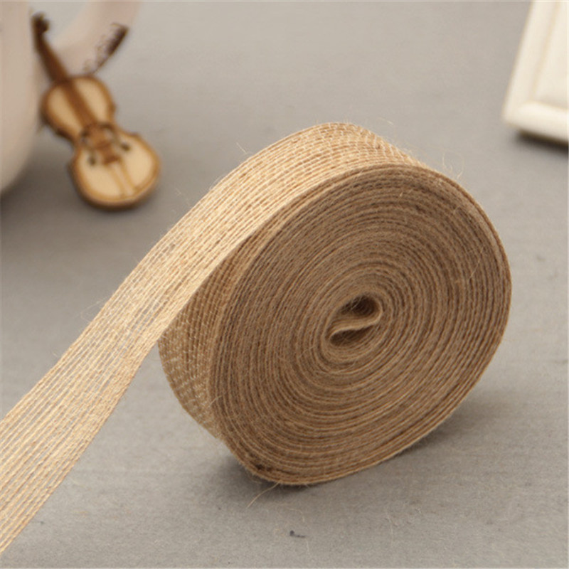 5M Multi Styles Natural Jute Burlap Hessian Ribbon Tapes Roll Vintage Rustic Wedding Favor Party DIY Decorative Crafts