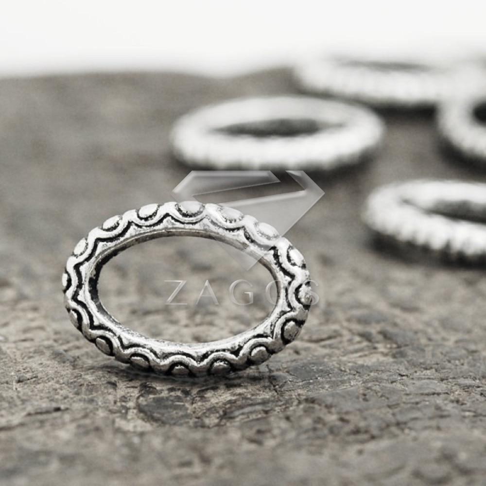 50Pcs Antique Silver Tibetan Silver Tone 16.5x12x3mm Ring Links Zinc Alloy Jewellry Making Findings Wholesale TS1447