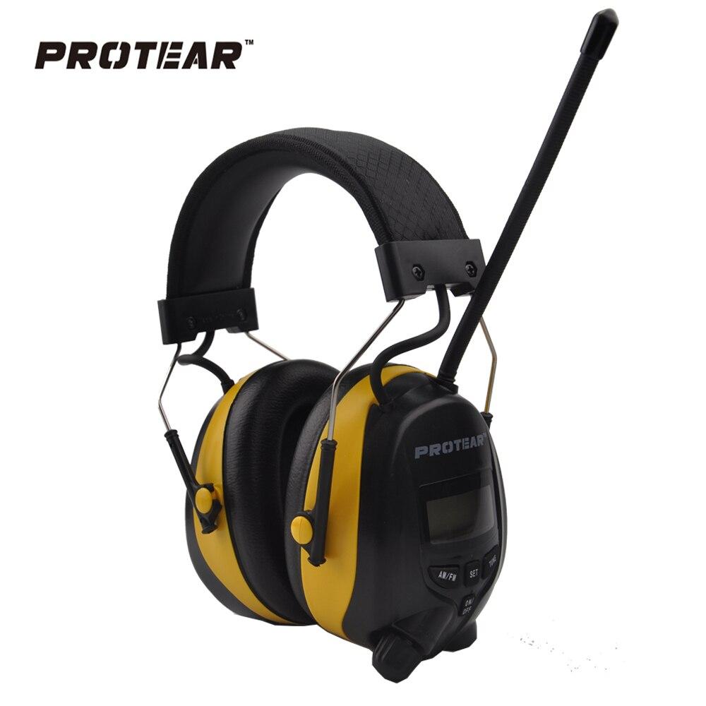 imágenes para Protear Protector Auditivo NRR 25dB AM FM Radio Radio de Protección Auditiva Orejeras Orejeras de Protección Auditiva Electrónica de Tiro