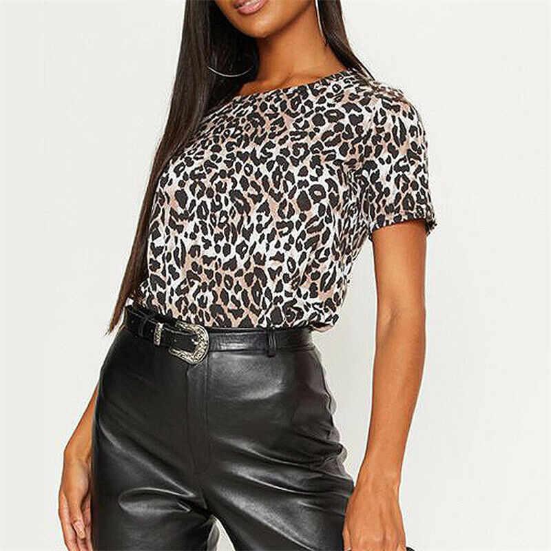 Сексуальная мода Женская Повседневная леопардовая Печать Круглый вырез Футболка с коротким рукавом Повседневная Спортивная джокер футболка Размеры S-XL