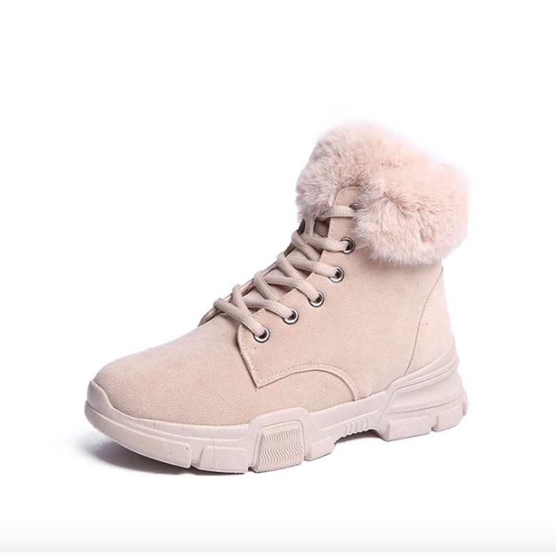 Women Boots Fashion Women Winter Boots Breathable Flock Leather Flats Platform Women Martin Boots Warm Fur Ankle Boots