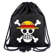 Anime One Piece Black Drawstring Bag with String Backpack Travel Rucksack Canvas Storage Bag