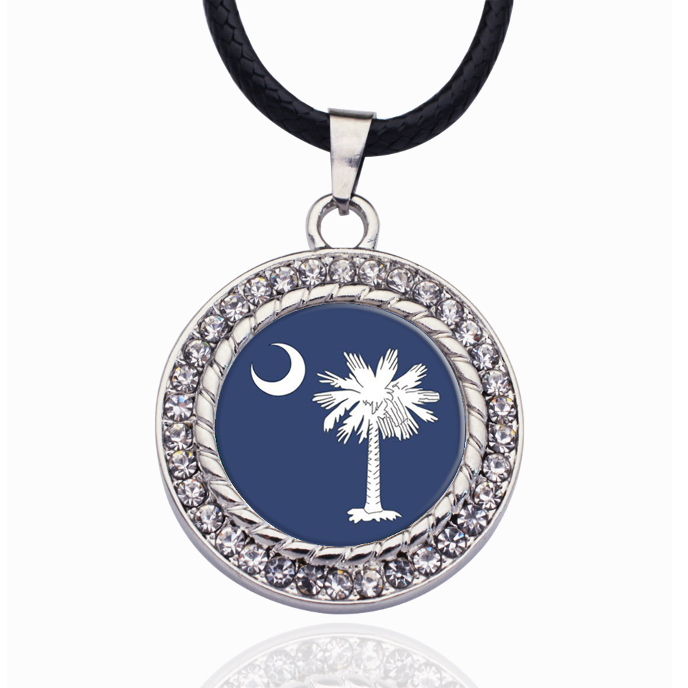 South Carolina Flag Circle Charm Crystal Pendant Necklaces For Women Vintage Charm Choker Necklace Party Jewelry Gift(China)