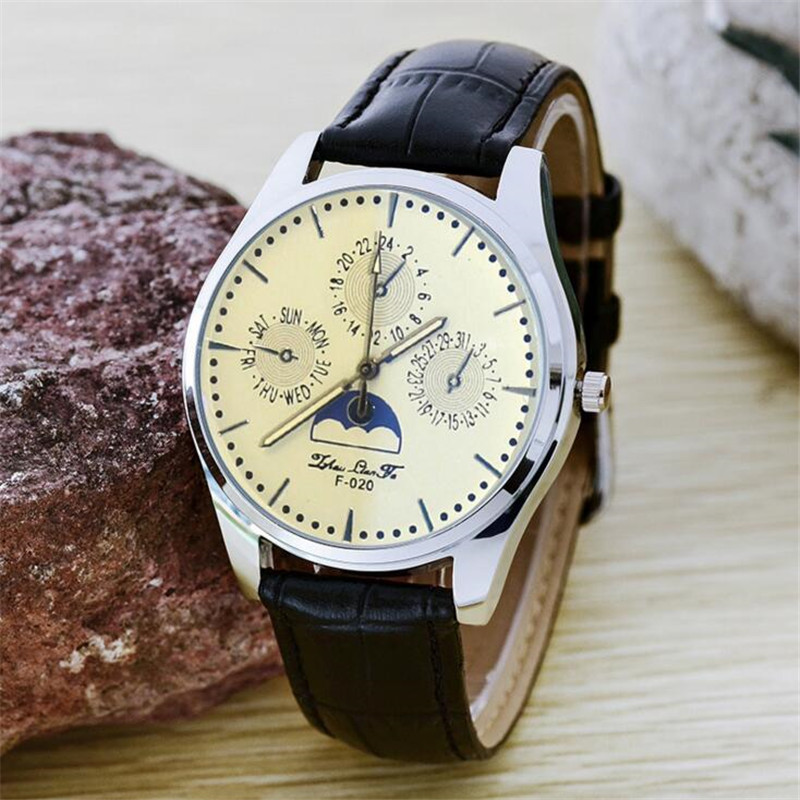 Vintage Black Leather Strap Waterproof Men Sports Quartz Watch Relojes Hombre 2017 Wristwatch Mens Watches Top Brand Luxury B224 oulm new arrive double time zone sports watches men luxury brand pu leather big wristwatch male quartz watch relojes hombre
