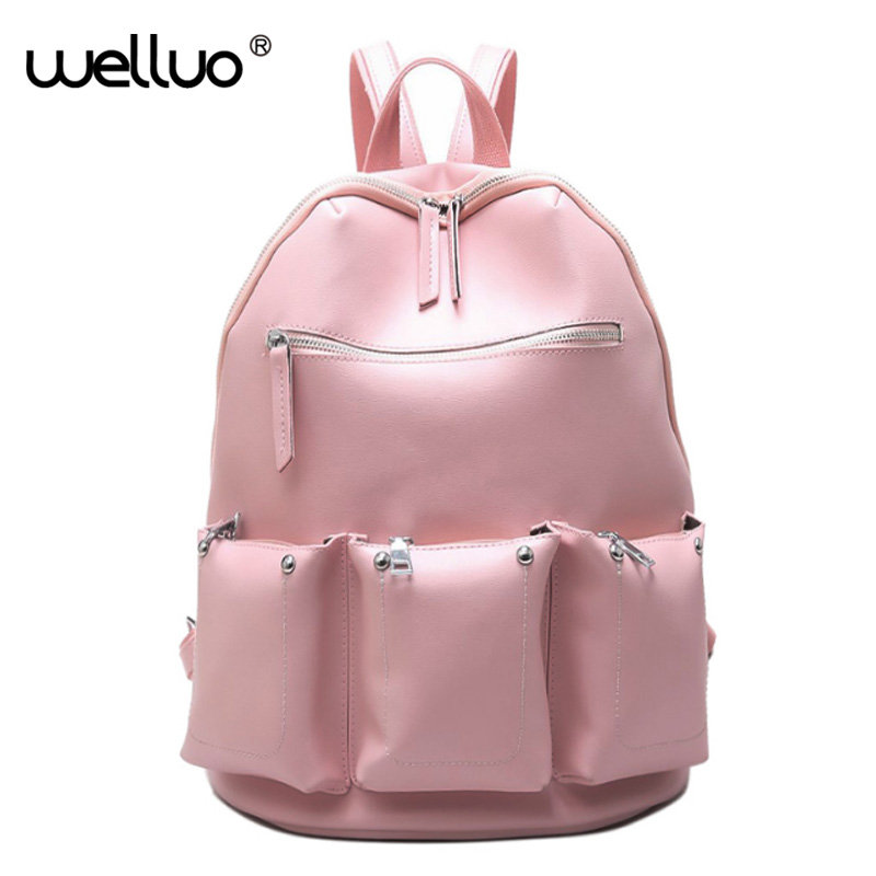 Three Pockets Women Leather Backpack Black Mochila Feminina Large Girl Schoolbag Travel Bag Solid Candy Color Pink Gray XA131B  new women leather backpack black bolsas mochila feminina girl schoolbag travel bag solid candy color green pink beige